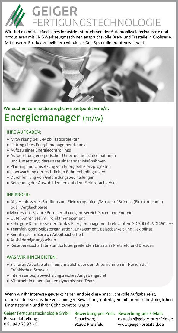 Application At Geiger - Geiger Fertigungstechnologie